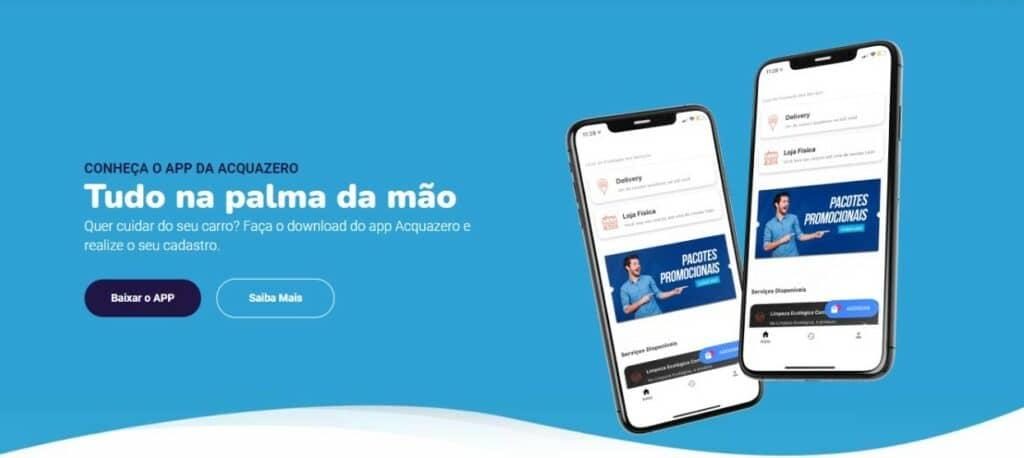 Foto do site da Acquazero mostrando o aplicativo da marca.