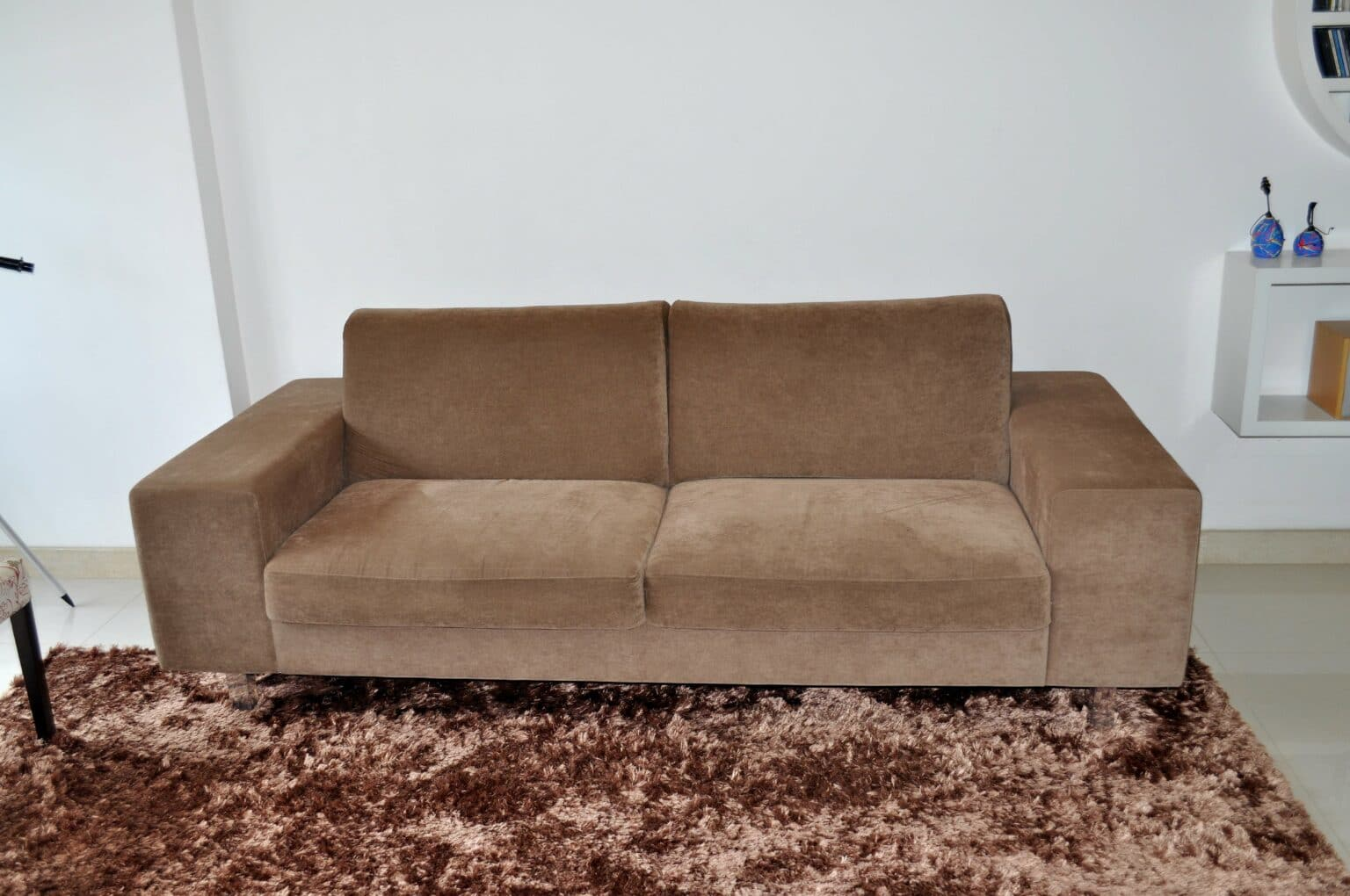Sofá e tapete felpudo marrons. Imagem ilustrativa texto sofá sujo.