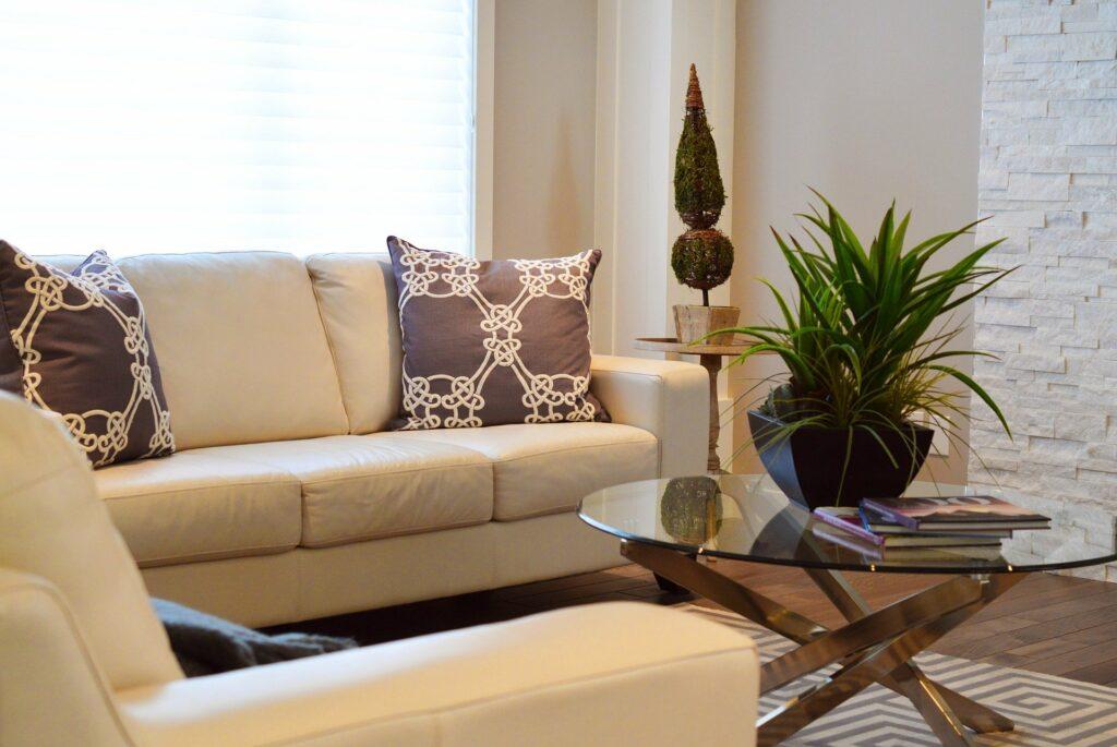 Foto de uma sala com sofá bege, mesa de centro de vidro com planta, tapete e chão de madeira. Ao fundo vemos uma janela. Imagem ilustrativa para texto limpar sofá São Joaquim Barra.